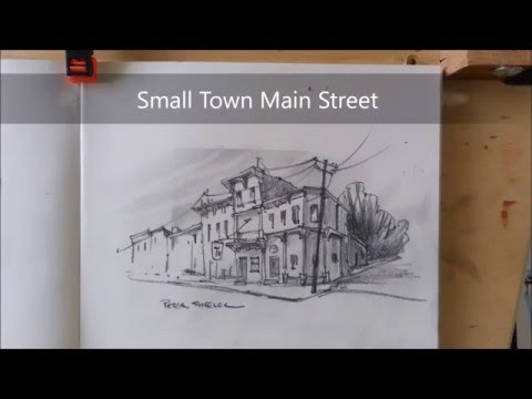 Pencil Sketch of a small town Main Street. 2x speed, fast and fun.