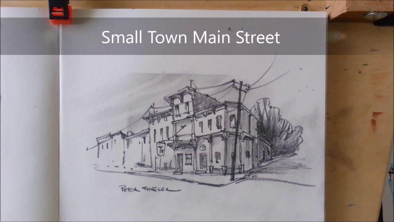 Pencil Sketch Of A Small Town Main Street 2x Speed Fast