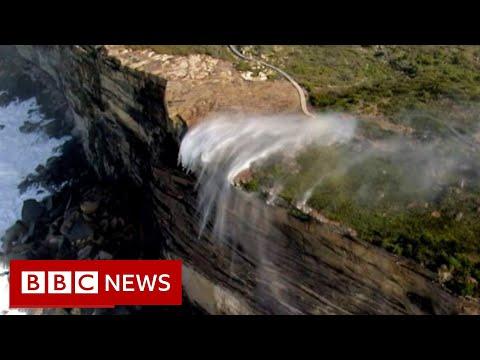 Stunning 'reverse waterfall' filmed near Sydney – BBC News