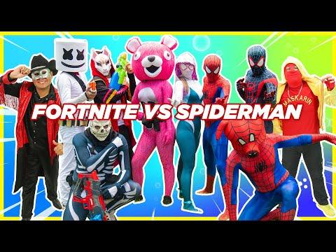 SPIDERMAN VS FORTNITE   MARSHMELLO VS SPIDERMAN   Manito Y Maskarin