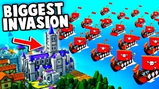 BIGGEST Viking Invasion Fleet Ever vs NEW Cathedral! Defend the Fort (Kingdoms and Castles Gameplay)