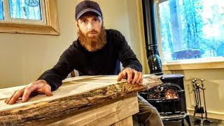 Building Off Grid CABIN (Live-Edge Table From TREES)! | BACON Wrapped Pond Trout