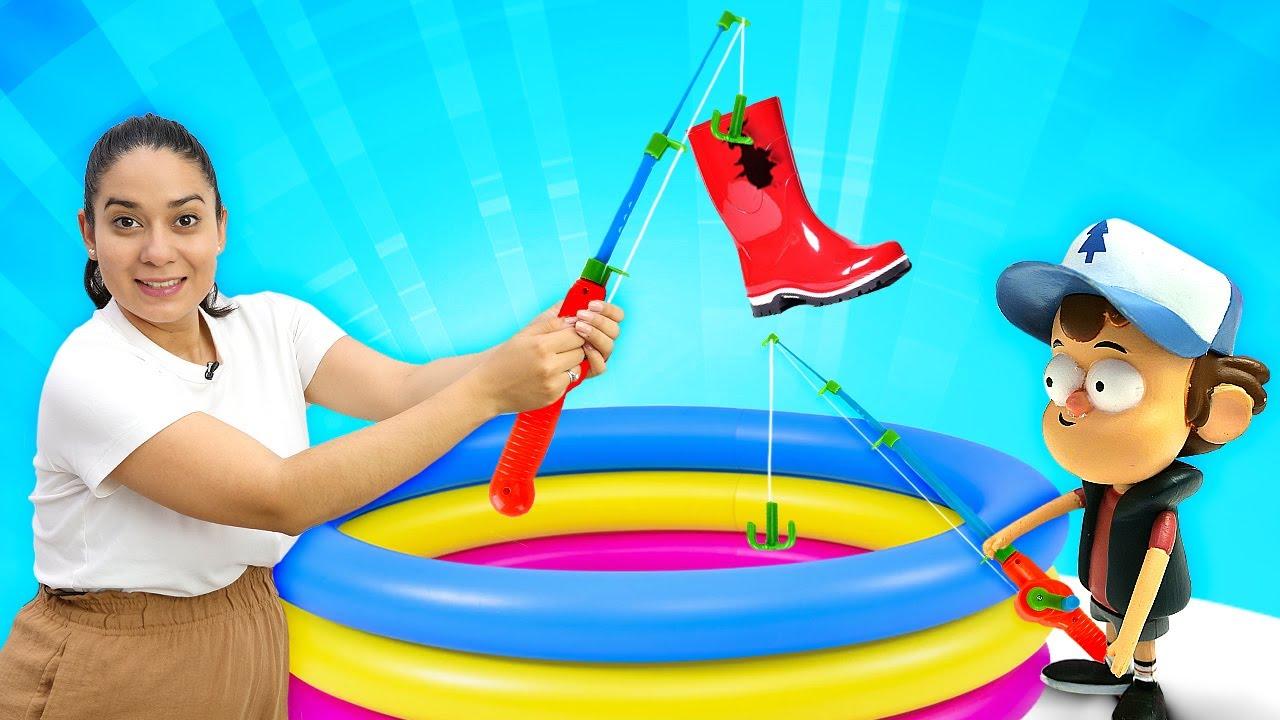 Valerias Spielzeug Kindergarten. Wir gehen angeln. Video für Kinder auf Deutsch