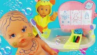 Купаем пупсика в ванночке, играем, рисуем героев мультфильма, обзор набора / Baby Doll Bathh