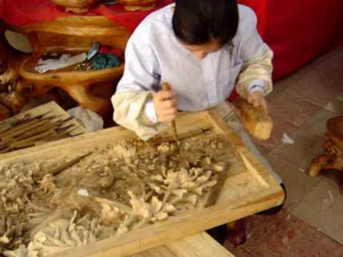 Chinese Wood Carving Artist in Nanchang, Jiang Xi, China