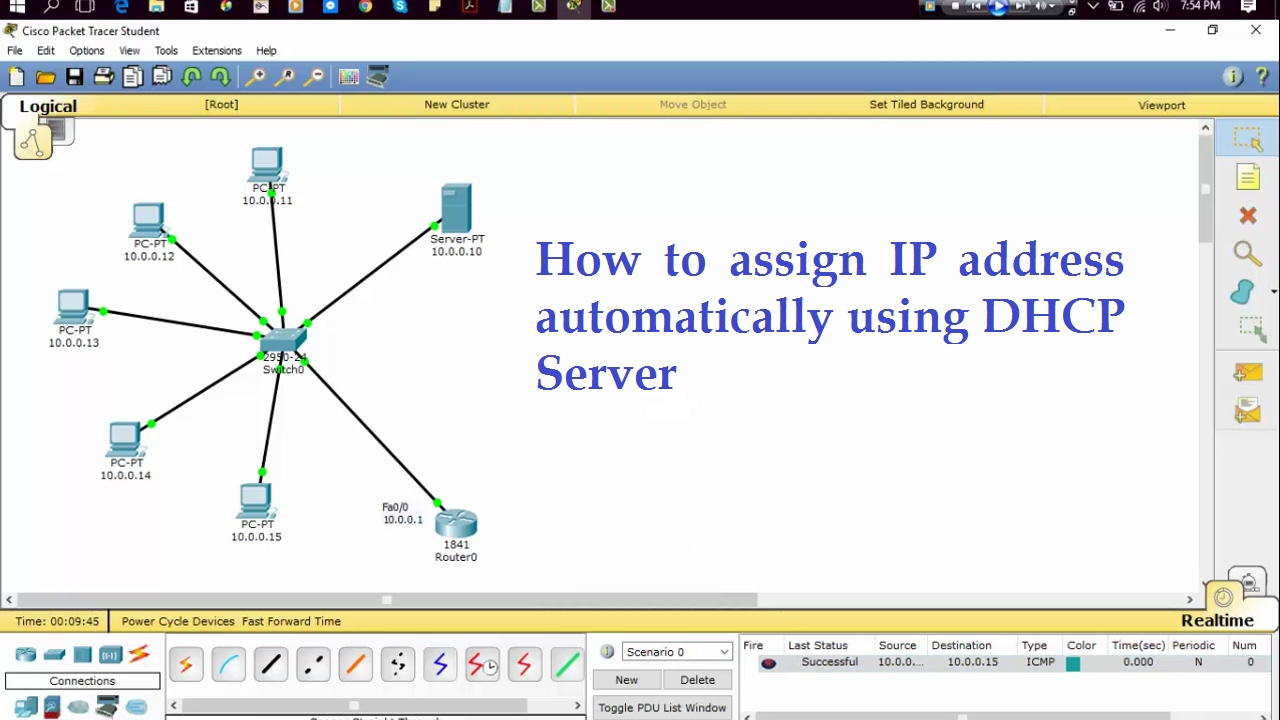 How to assign IP Address automatically using DHCP Server || Cisco Packet  Tracer