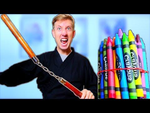 NINJA WEAPONS vs BACK TO SCHOOL Supplies Challenge!