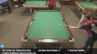 Jordan Burnham vs Darius Sallie (18 and under) - Michigan Junior State 9-Ball Championship thumbnail
