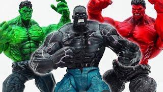 Power Rangers & Marvel Avengers Toys Pretend Play | Grey Hulk vs Hulk vs Red Hulk Smash Toy Collect