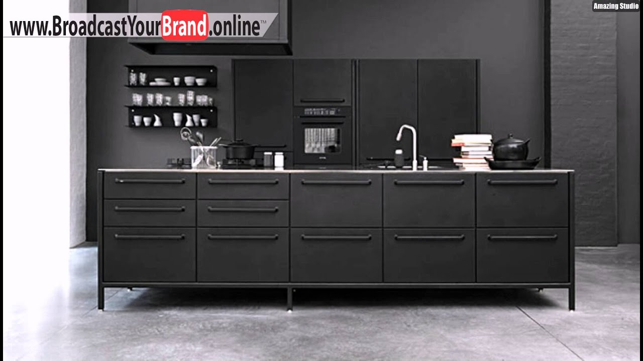 vipp stahl k che mit kochinsel schwarz matt youtube. Black Bedroom Furniture Sets. Home Design Ideas