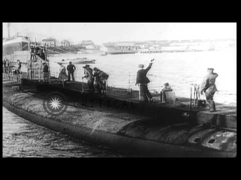German Commercial merchant submarine Deutschland, departing New London, Connectic...HD Stock Footage