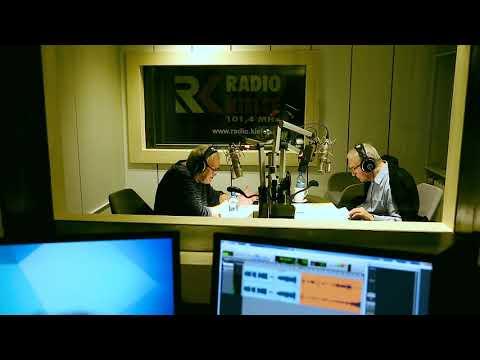 Jerzy Trela i Jan Nowicki w studiu Radia Kielce
