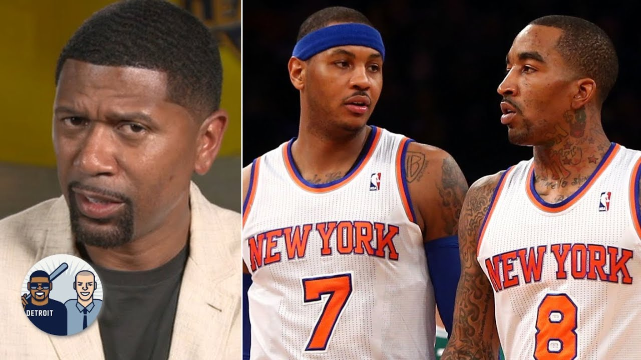 Jalen Rose reacts to the JR Smith-Carmelo Anthony to the