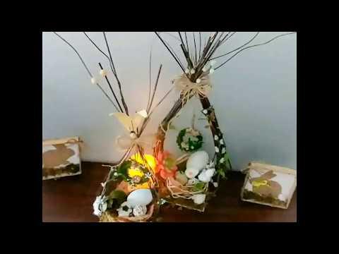 Dollar tree DIY Easter/farmhouse/rustic style table centerpiece
