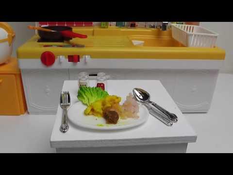 Plate lunch making in liccachan kitchenkonapun リカちゃんキッチンでプレートランチづくり こなぷん