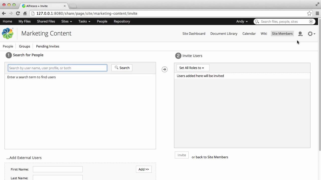 Alfresco 50 Inviting users to Alfresco sites YouTube