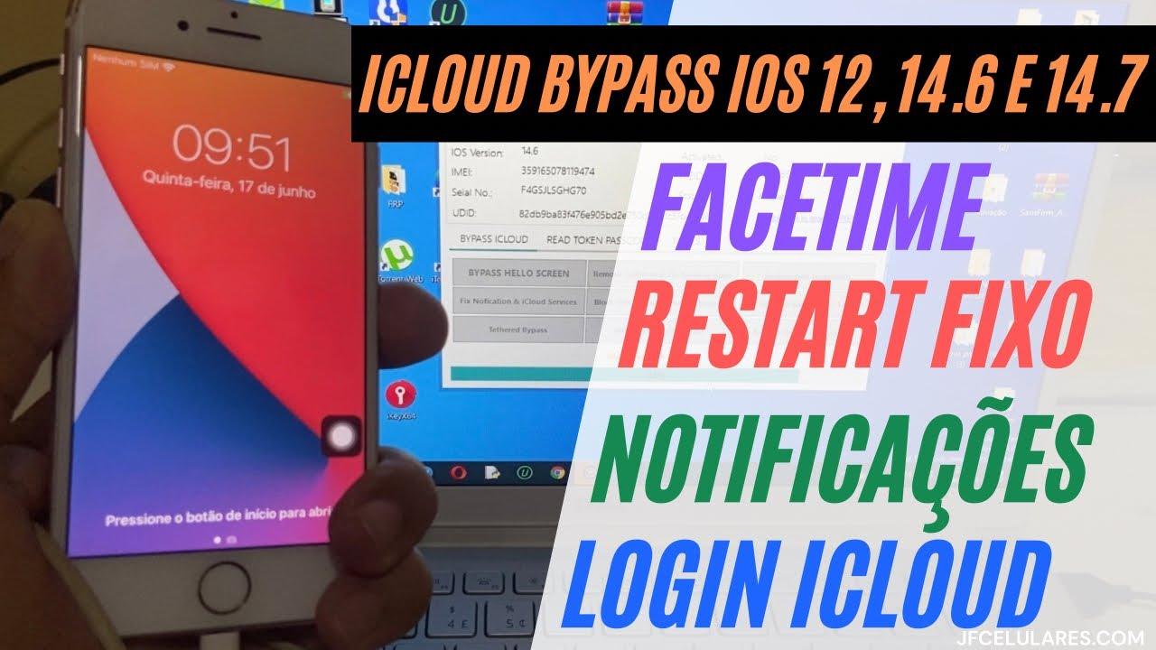 iCloud Bypass iOS 12 ao 14.7, restart fix, FaceTime, login iCloud. So para Membros