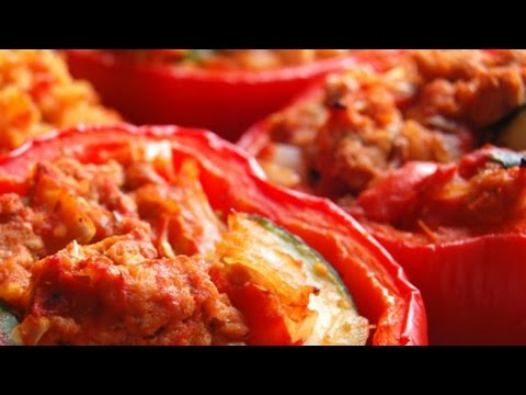 Paleo Diet Recipes - Roasted Stuffed Bell Peppers Recipe thumbnail