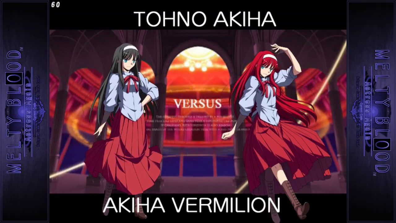 Image result for melty blood actress again akiha vs vermilion