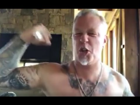 METALLICA's James Hetfield take his shirt off for Iggy Pop on Iggy's 70th birthday ..!