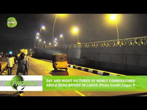 Day and night pictures of newly commissioned abule egba bridge in lagos (Photo Credit: Lagos Press)