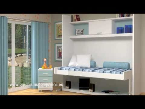 Camas abatibles habitaciones juveniles dormitorios juveniles camas plegables youtube - Camas muebles plegables ...