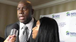 Magic Johnson and Cookie Johnson at the Habitat For Humanity Of Greater Los Angeles Builders Ball at