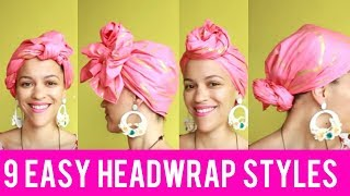 🎀 9 QUICK & EASY HEADWRAP/TURBAN TUTORIAL (BALD, SHORT NATURAL HAIR & TWA FRIENDLY)