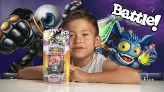 LIGHTCORE POP FIZZ vs. EYE BRAWL - Skylanders Giants Unboxing and Battle Mode!