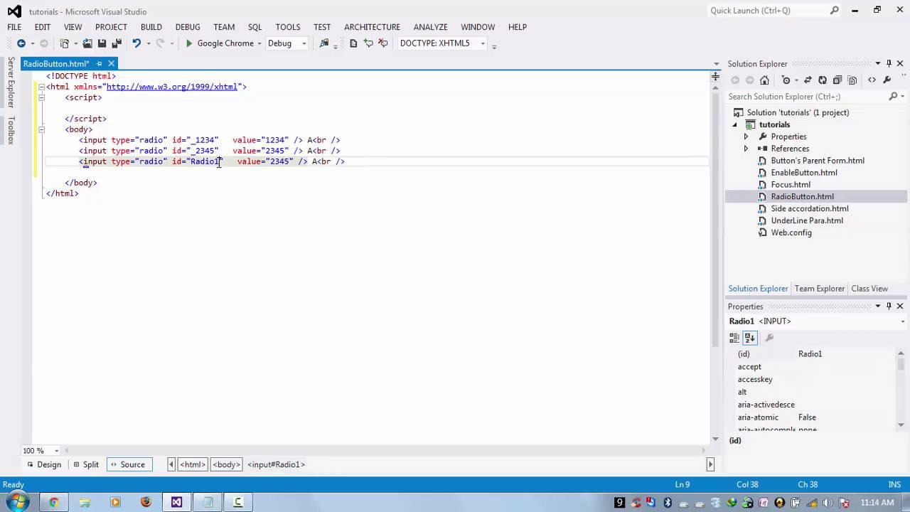 Radio button check using javascript