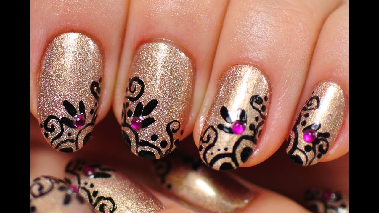 Nail Art Holographic Nude Nails Lace Design Youtube