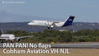 PAN PAN! Cobham Aviation (VH-NJL) BAE 146-300A fast landing without flaps on RW03.