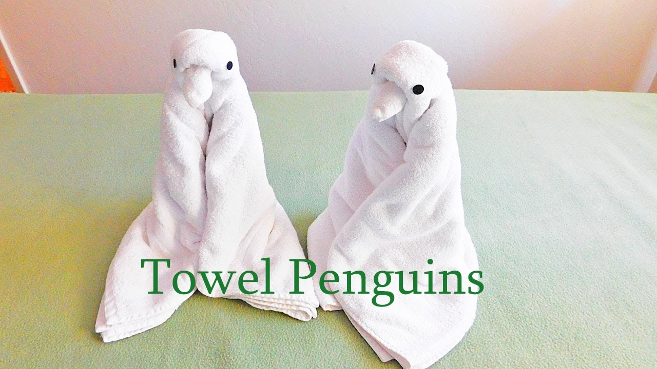 Folding Towel Penguin, with music. - YouTube