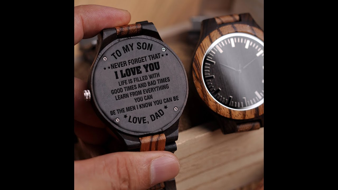eb6eead551c68 dad to son engraved wooden watches - 2018 - 11 - YouTube