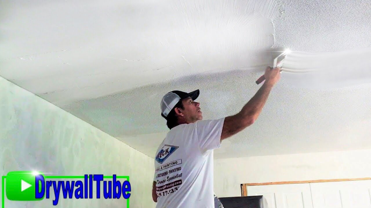 Skim Coat Over A Painted Popcorn Ceiling Skim Coating Tips And Tricks Youtube