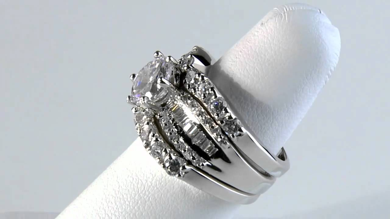 Platinum Over Sterling Cubic Zirconia Wedding Set DiamonUltra CZ By  PalmBeach Jewelry   YouTube