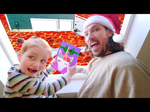 MYSTERY PRESENT DROP!! the floor is LAVA Christmas challenge! (45ft smash test to see whats inside)