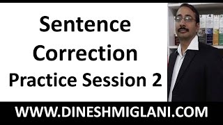 Sentence Correction Practice Session 2  by Team, Dinesh Miglani Tutorials