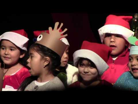 Annabelle sings a Christmas song at Hazelton Elementary School in Stockton