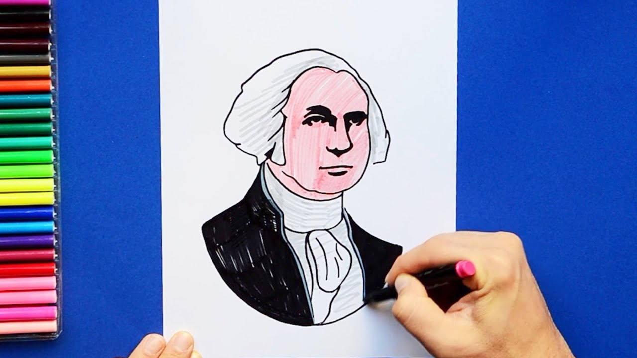 How to draw and color George Washington - First President of USA ...