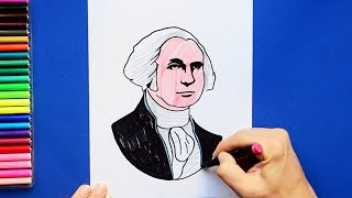How to draw and color George Washington - First President of USA