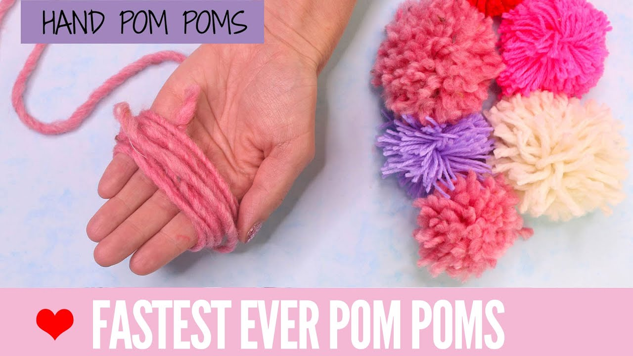 diy pom poms super fast pom poms with your hand youtube. Black Bedroom Furniture Sets. Home Design Ideas
