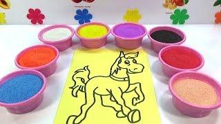 MỘT GIA ĐÌNH NHỎ MỘT HẠNH PHÚC TO🎼Đồ chơi trẻ em TÔ MÀU TRANH CÁT HÌNH CON NGỰA  Color Sand Paint