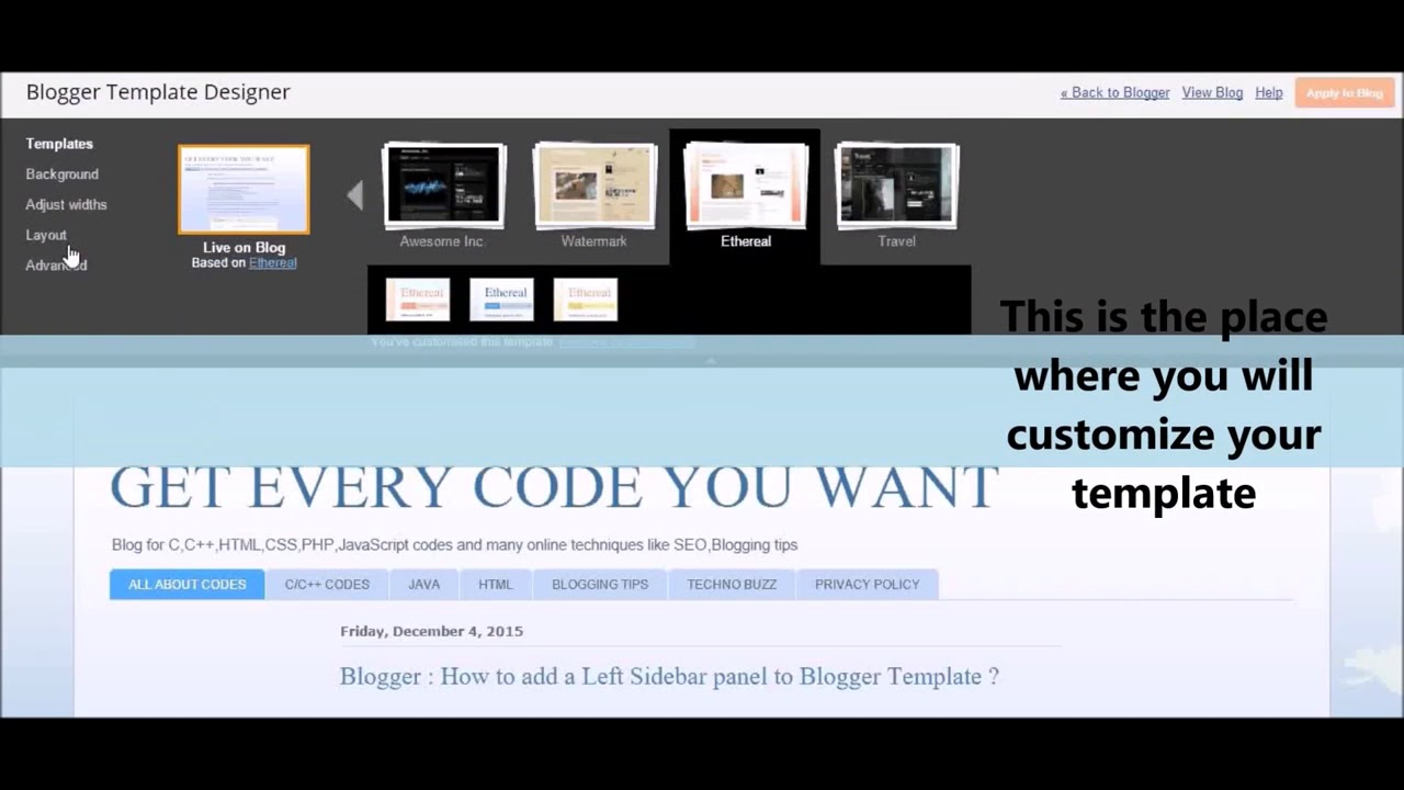 How to customize Blogger Template, Add a left Sidebar Panel - YouTube