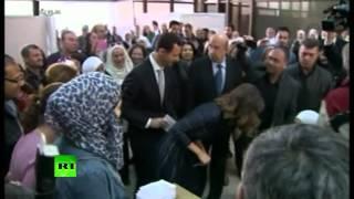 Башар Асад и его супруга проголосовали на парламентских выборах в Дамаске