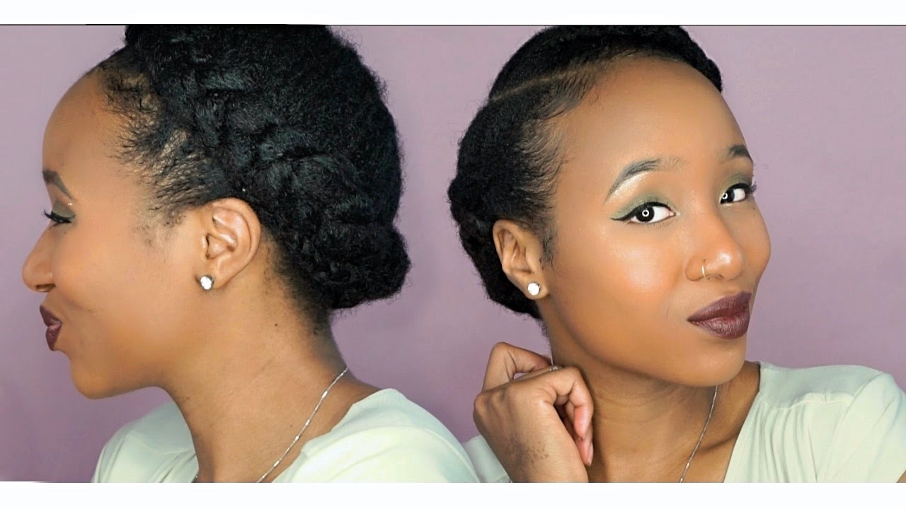 Easy Halo Braid On Natural Hair Green Gradient Smokey Eye Woc