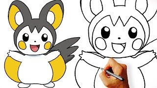How to Draw cute Emolga from Pokemon Step by Step