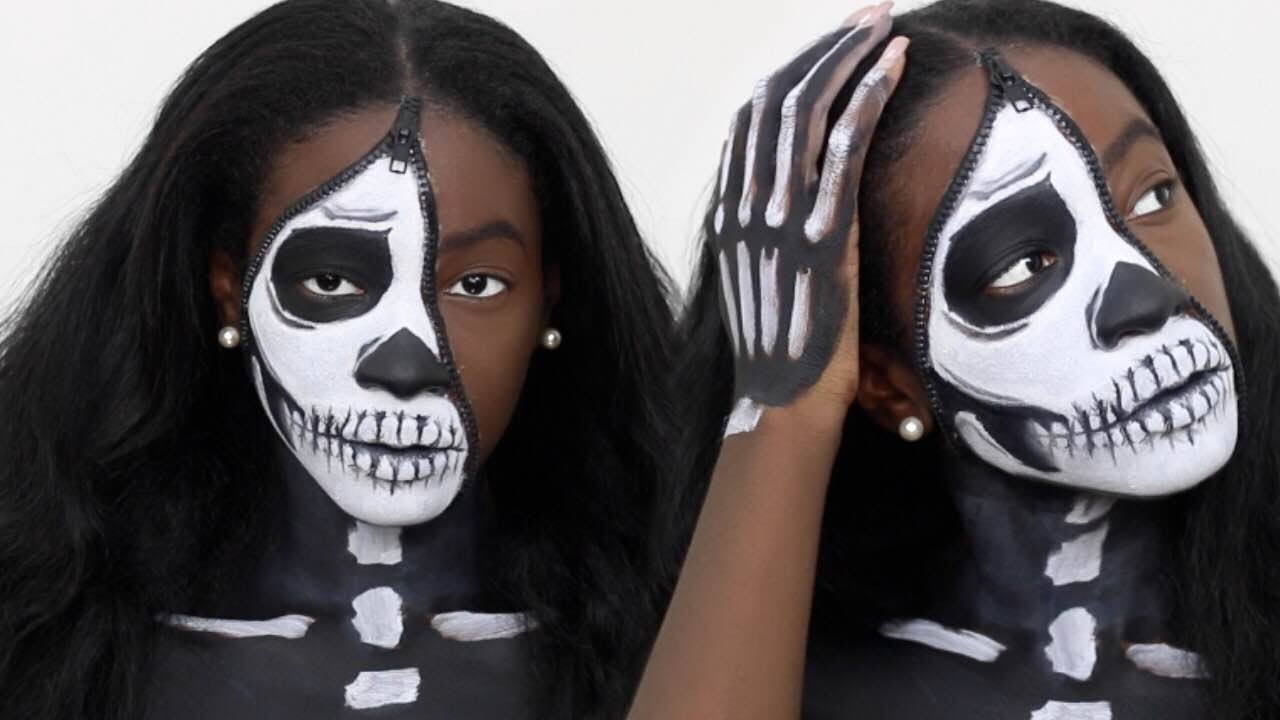 Unzipped Half Skeleton Halloween Makeup Tutorial - YouTube