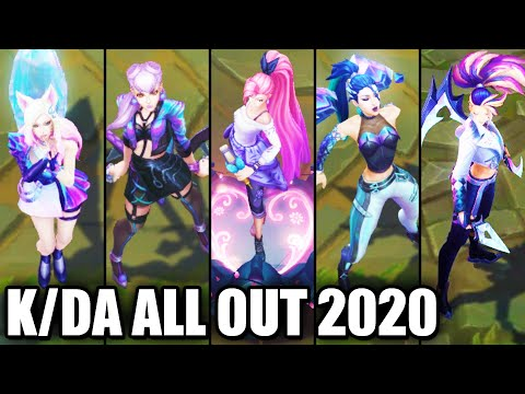 All New KDA ALL OUT Skins Spotlight Seraphine Akali Ahri Kaisa Evelynn (League of Legends)