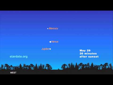 """A rare celestial event peaks on Sunday as Venus, Jupiter and Mercury appear together in the night sky in what astronomers call a """"Grand Conjunction."""""""